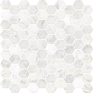 InHome NH2359 Hexagon Marble Peel and Stick Backsplash Tiles, White/Off-White