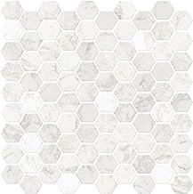 Inhome nh2359 zeshoekig marmer schillen en stick duet tegels, wit/crème