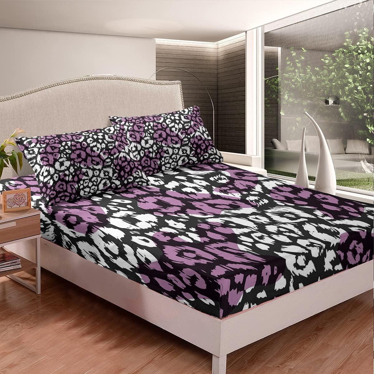 Ranking TOP10 Erosebridal Ranking TOP16 Leopard Fitted Sheet Purple Black Cheetah Skin Print