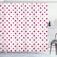 Ambesonne Polka Dots Home Decor Collection, Polka Dots Pattern Consisting of An Array of Filled Circles Pop Art Concept, Polyester Fabric Bathroom Shower Curtain Set with Hooks, Pink Red White