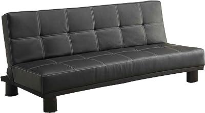 Benjara Leather Upholstered Metal Adjustable Sofa with Square Tuft Design, Black
