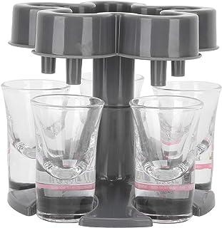 Distributeur de vin, shot glass dispenser BuyWeek Dark Grey 5 Shot Glass Dispenser Holder with 6 Glasses for Party Bar Use