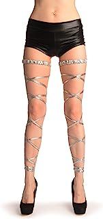 LissKiss Silver Metallic Leg Wrap With Elasticated Top - Silber Beinwärmer Einheitsgroesse 34-42