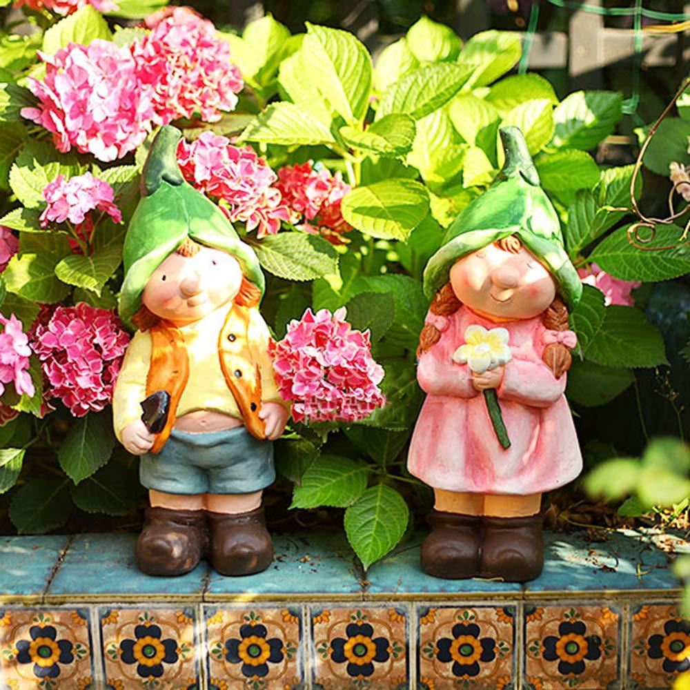 Figura Decorativa para jardín Niño Y La Escultura Duende De La Muchacha Impermeable De óxido De Magnesio Estatua Para La Yarda Del Césped Del Paisaje Decoración -17 * 13 * 42cm boy: