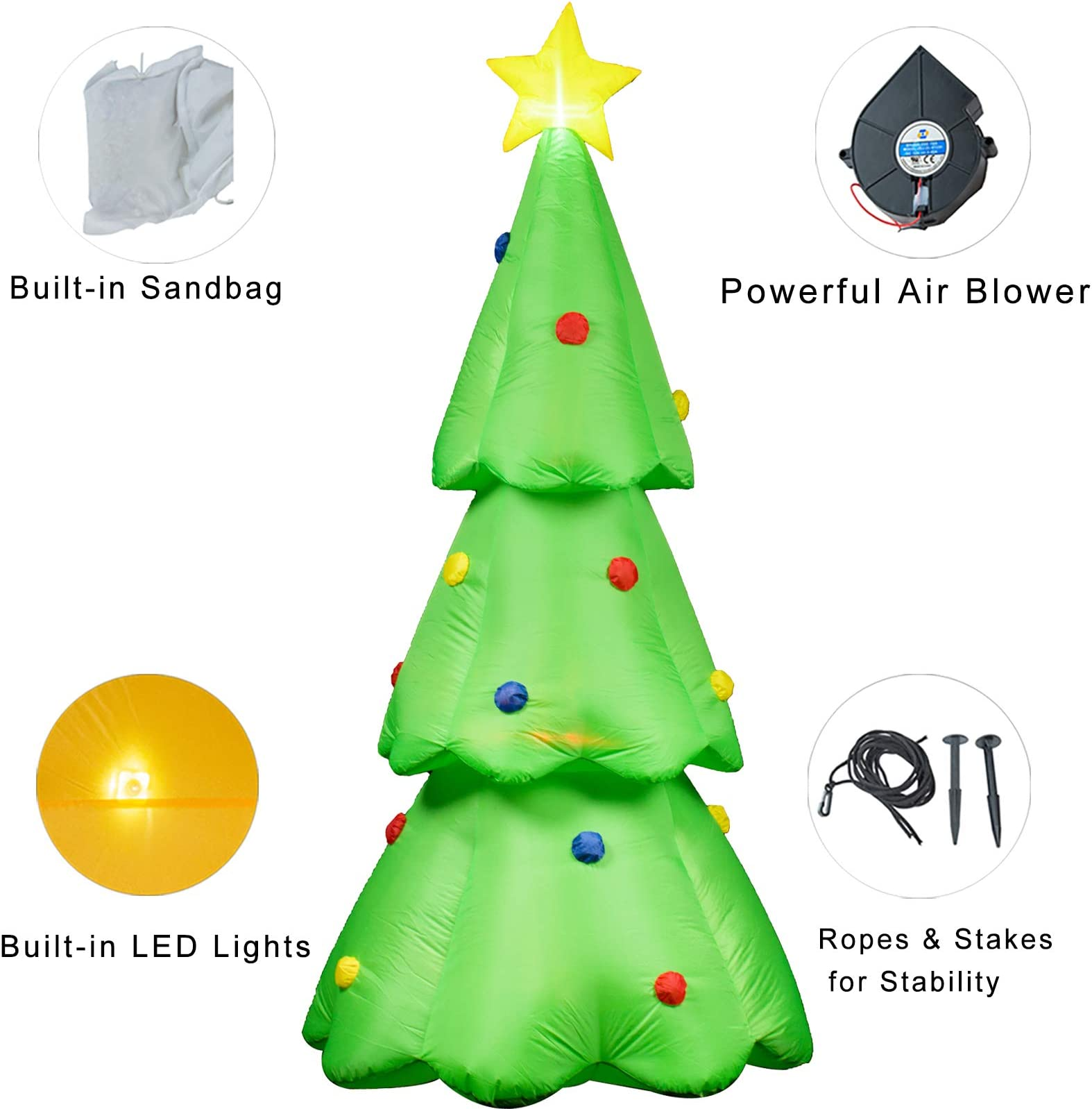 Lighted Christmas Tree Yard Decorations  from m.media-amazon.com