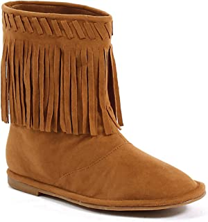 "Ellie Shoes 1"" Heel Children's Moccasin Boot with Fringe."