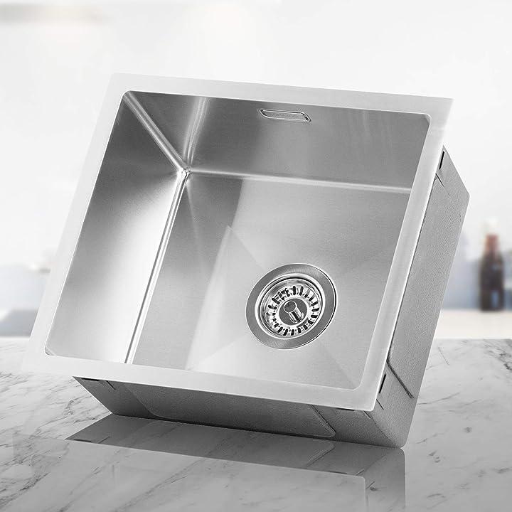 Lavello cucina acciaio inox | lavandino cucina 1 vasca (45x40 cm) [oberon] lomazoo B07YZKZ3B5