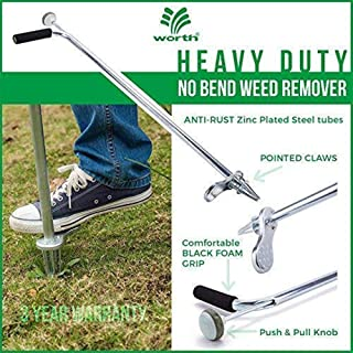 "Stand-Up Weeder and Root Removal Tool - Ergonomic Weed Puller with A 33"" Tall Handle and Foot Pedal - Easy Weed Grabber Made from Rust-Resistant Steel - 3 Year Warranty"