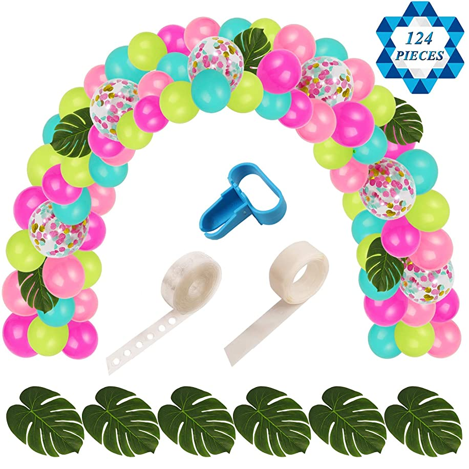 SOTOGO 124 Pieces Balloon Garland Kit Balloon Arch Garland for Hawaii Tropical Themed Party Decorations Summer Beach Party (Pink,Rose Red,Light Green,Light Blue,Colorful Confetti,Turtle Leaf)