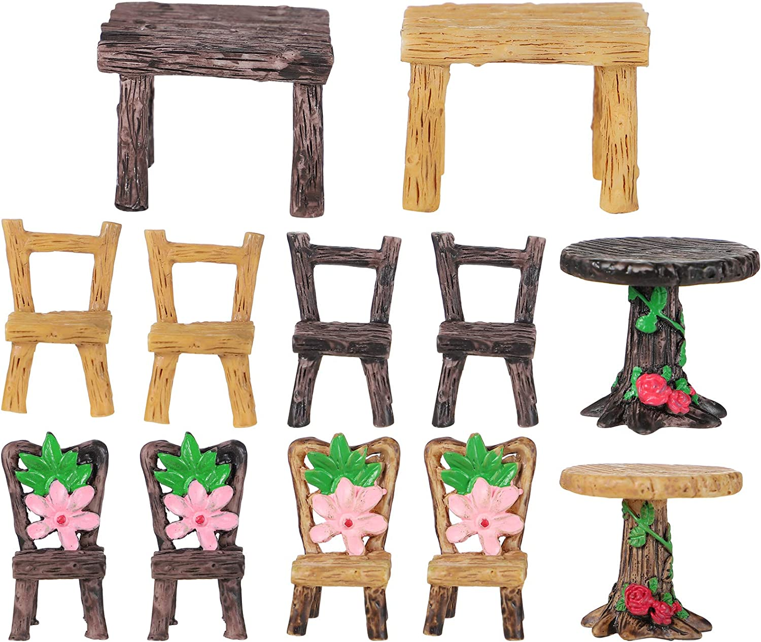 Yardwe 4 Sets Table Chair New color Resin Craft Max 45% OFF Ornament Landscape Micro F