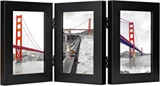 Frametory, 4x6 Inch Hinged Picture Frame with Glass Front - Made to Display Three 4x6 Inch Pictures, Stands Vertically on Desktop or Table Top (4x6 Triple, Black)