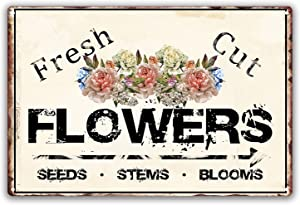 SOULEAK Fresh Cut Flowers Sign, Flowers Market Vintage Tin Sign, Retro Wall Plaque Wall Decor Metal Sign for Farmhouse Garden Outdoor Indoor Decoration, 8X12 Inch