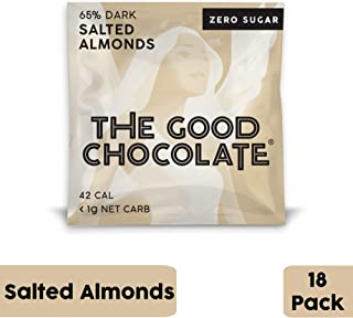 The Good Chocolate Zero Sugar 65% Salted Almonds Dark Chocolate Bars, Organic, Keto Friendly, Low Carb, Sugar Free Snacks and Treats, 0.4 Ounce Individually Wrapped Squares (18 Pack)