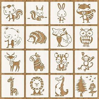 O-Kinee Pochoirs Animaux Foret, Pochoir Animaux pour Enfants, Loisirs créatifs pour Enfants, Ensemble de pochoirs en Plast...