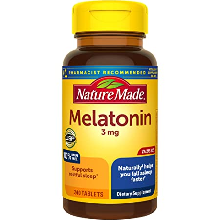Nature Made Melatonin 3 mg Tablets, 240 Count Value Size for Supporting Restful Sleep