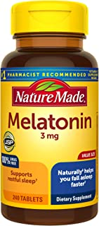 Nature Made Melatonin 3mg Tablets, 240 Count for Supporting Restful Sleep (Packaging May Vary)
