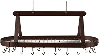 Old Dutch Oval Hanging Pot Rack with Grid & 24 Hooks, Oiled Bronze, 48 x 19 x 15.5