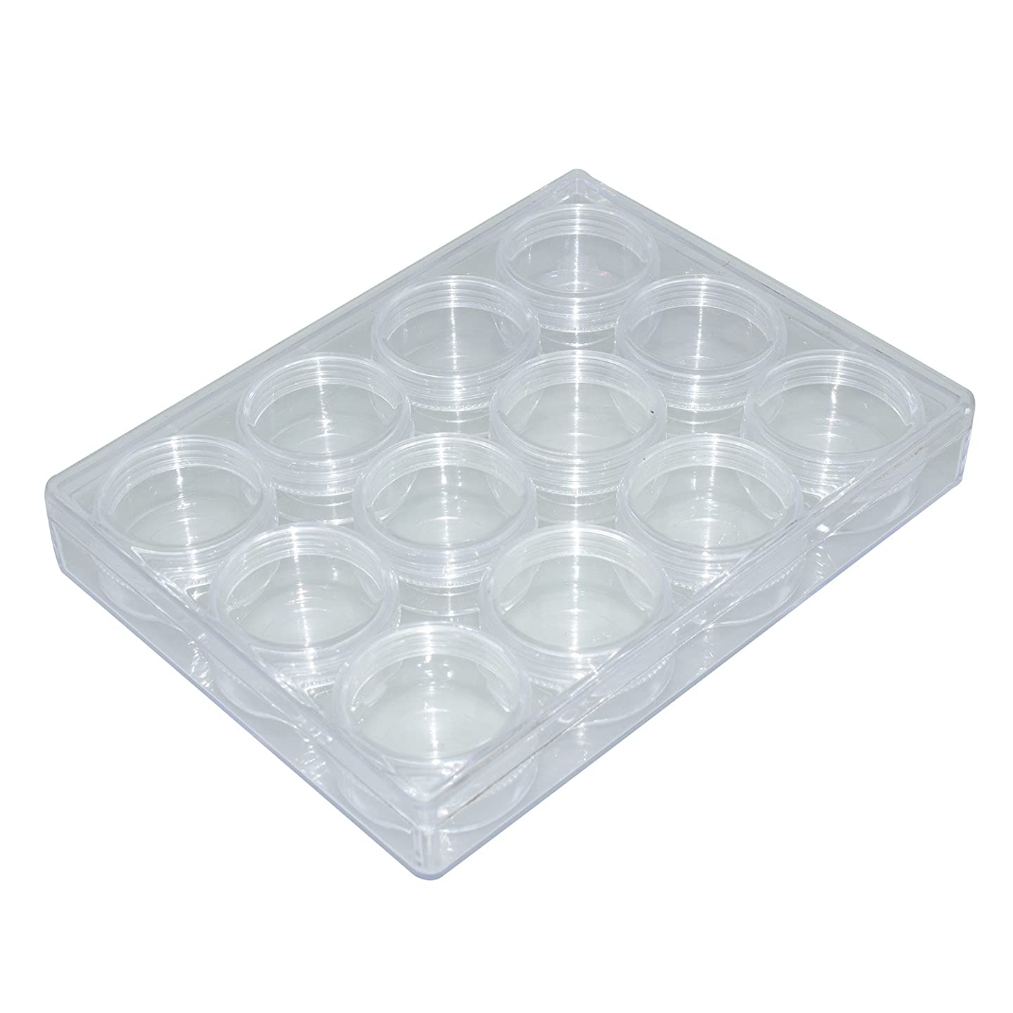 Argositment 12pcs Mid Round Plastic Bead Storage Container Display Organization Tins