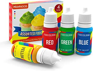 Nomeca Food Coloring, 4 Colors Vibrant Liquid Food Colors Cake Decorating Dye Set, Tasteless for Baking Royal Icing Cookie...