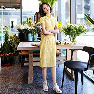 Spring And Summer New Style Cotton And Linen Chinese Style Small Fresh Daily Slim Long Cheongsam
