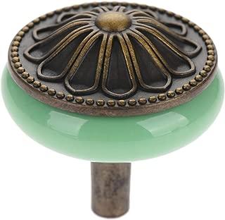 1PC Green Antique Bronze Ceramic Pulls Handls Kitchen Cabinet Drawer Wardrobe Door Knobs