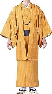 مجموعة KYOETSU Men's Japanese Awase Kimono Stripe قابلة للغسل من قطعتين (Kimono/Haori) (مقاس X-Large، برتقالي)