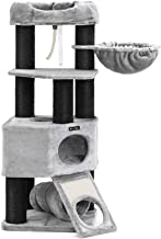 FEANDREA Cat Tree, Large Cat Tower with Fluffy Plush Perch, Cat Condo with Basket Lounger and Cuddle Cave, Extra Thick Posts Completely Wrapped in Black Sisal Light Grey UPCT02W