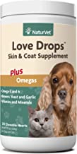 NaturVet – Love Drops Skin & Coat Supplement – Plus Omegas – 200 Chewable Hearts–Daily Supplement Supports Healthy Skin & Coat–Enhanced with Brewer's Yeast, Garlic, Antioxidants & Zinc–For Dogs & Cats