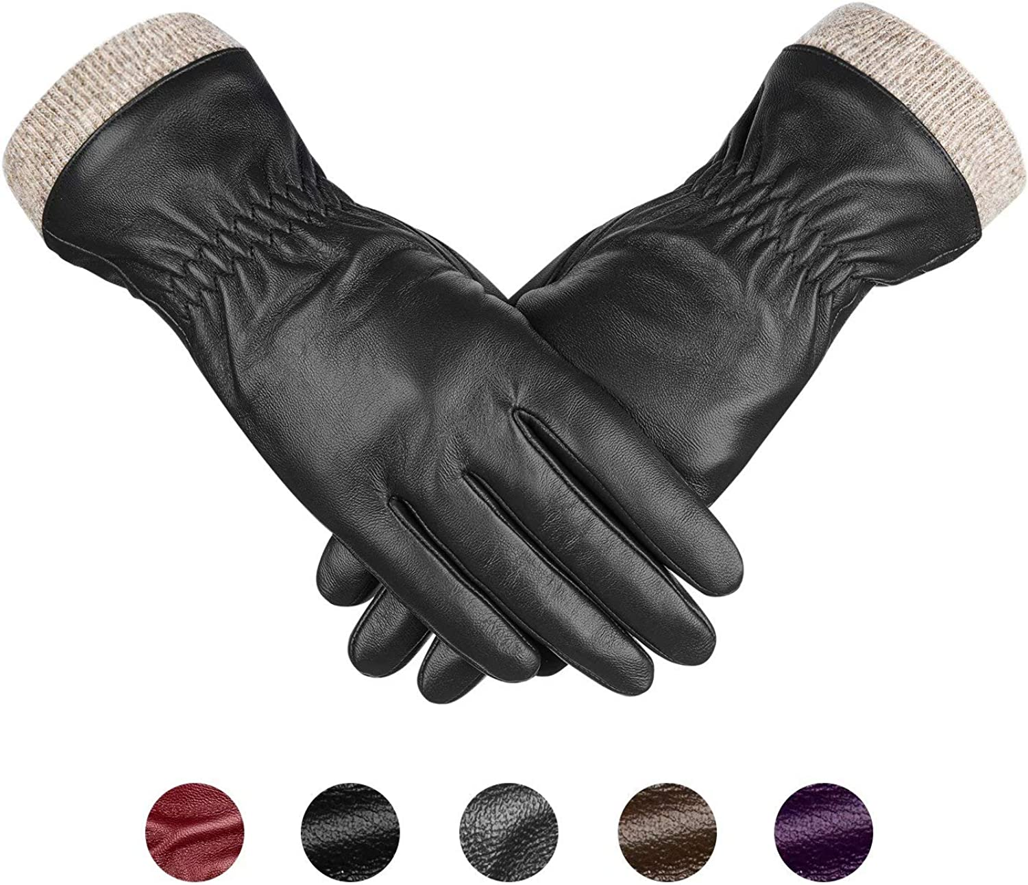 Genuine Sheepskin Leather Gloves For Women, Winter Warm Touchscreen Texting Cashmere Lined Driving Motorcycle Dress Gloves By Alepo (Black-M)