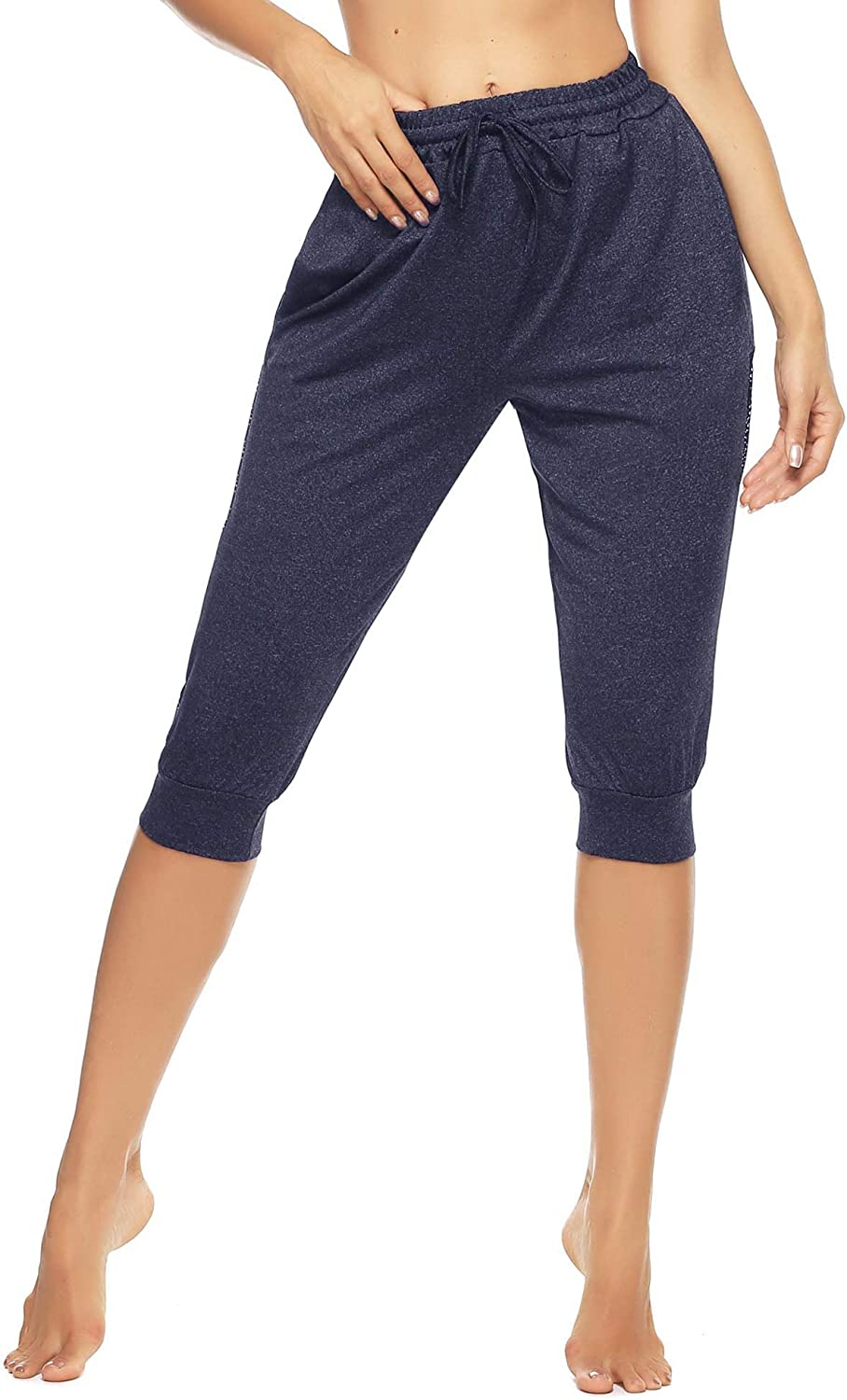 Doaraha Womens Capri Pants Sweatpants Cropped Casual Drawstring Sports Trousers Side Stripe 3//4 Length Jogging Bottoms for Running Gym Fitness Outdoor