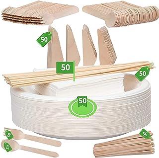 Paquete de vajilla desechable: vajilla ecológica, biodegradable, juego de cubiertos y juego de platos, caja fuerte microondas de madera, resistente, resistente, para fiestas en el hogar, uso comercial