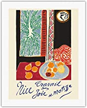 Nice, France - Travail et Joie (Work and Joy) - Nature Morte aux Grenades (Still Life Pomegranates) - Vintage World Travel Poster by Henri Matisse c.1948 - Fine Art Rolled Canvas Print - 20in x 26in
