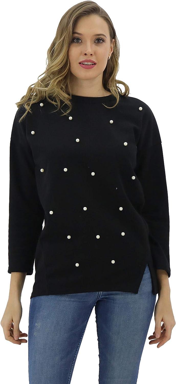 BENANCY Women's 3 4 Sleeve Beading Crewneck Loose Knit Tshirt Top