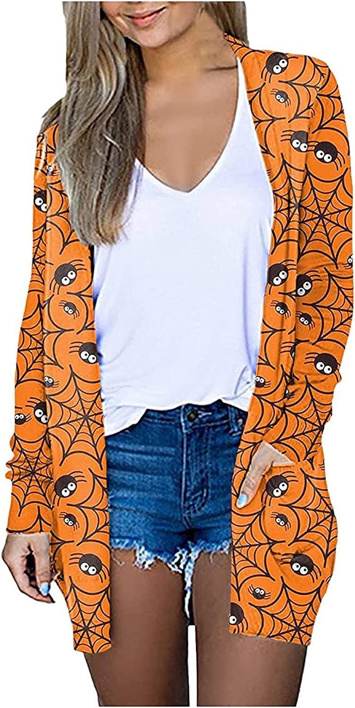 Halloween Women Long Sleeve Cardigan Funny lowest price Max 62% OFF Open Fr Pumpkin Print