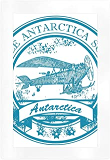YOLIYANA Vintage Airplane Decor Beautiful Art Print,South Pole Antarctica Words on Retro Blue Stamp Grunge Airplane Decorative for Home,16