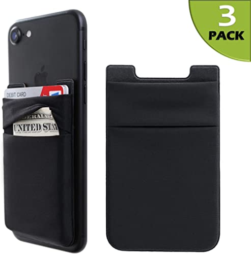 Phone Card Holder Stretchy Lycra Wallet Pocket Credit Card ID Case Pouch Sleeve 3M Adhesive Sticker Compatible with i...