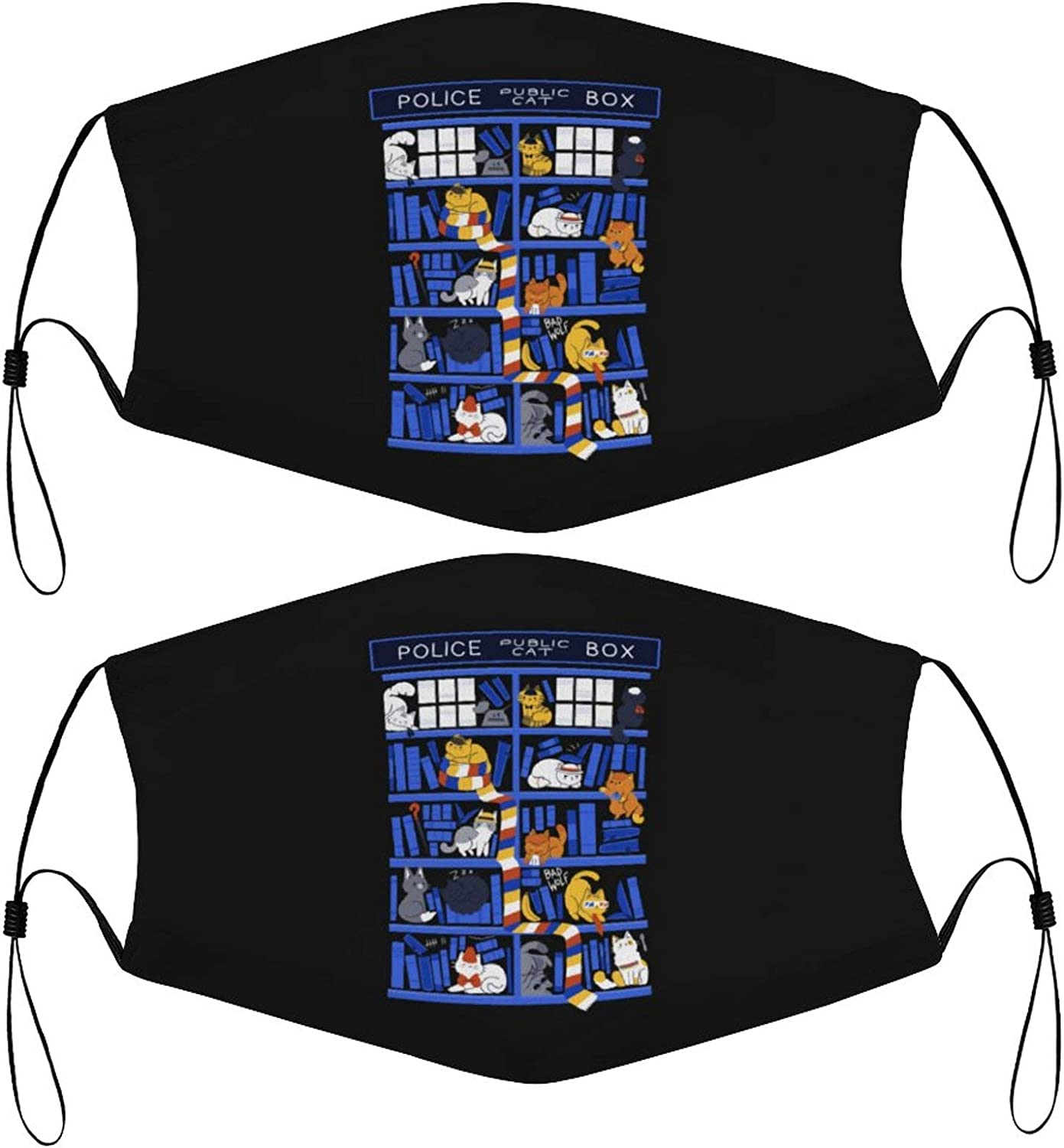Books Box with Cats Kids Face Masks Set of 2 with 4 Filters Washable Reusable Breathable Black Cloth Bandanas Scarf for Unisex Boys Girls