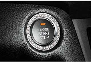 Pawaca Car Start Decor Auto Engine Start Stop Button Ring Crystal Rhinestone Car Bling Accessories For Vehicle Ignition Button Auto Start Engine Key