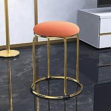 Okrągły Stołek Toaletowy, Wyściełane Aksamitem Krzesło z Aksamitną Amortyzacją, Metalowy Stołek do Jadalni z Plastikową An...