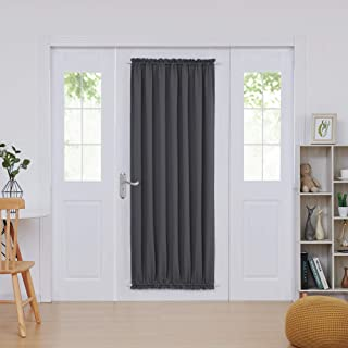 Deconovo French Door Panels Blackout Curtain Rod Pocket Thermal Insulated Curtains for Living Room 54x72 Inch Dark Grey 1 Panel