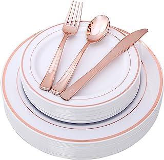 100 قطعة من أطباق الذهب الوردي مع أدوات المائدة البلاستيكية أحادية الاستخدام، مجموعة أدوات المائدة الأنيقة تتضمن: 20 طبق ع...