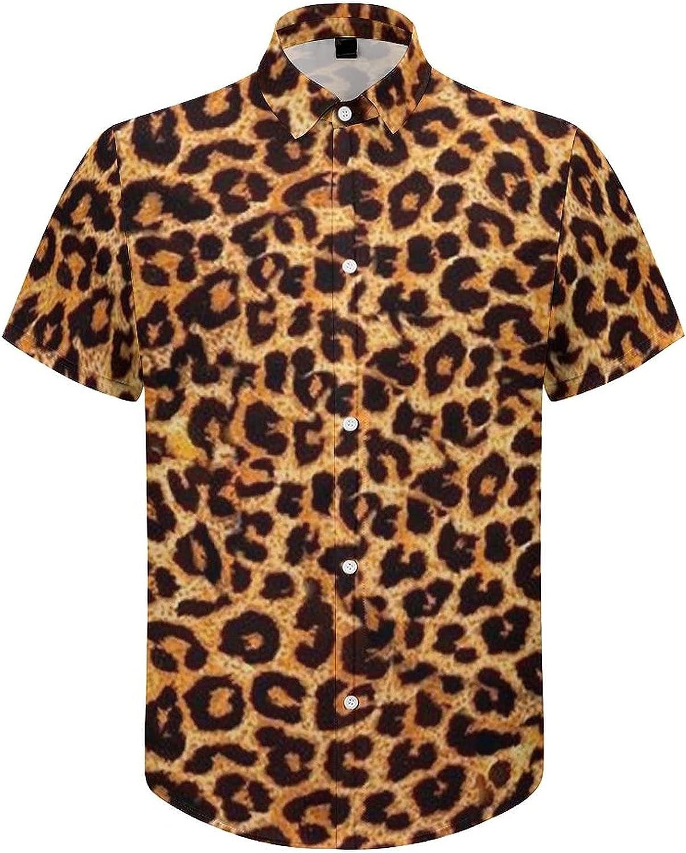 Men's Short Sleeve Button Down Shirt Leopard Print Summer Shirts