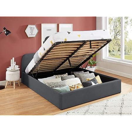 HOMIFAB Lit Coffre scandinave 140x190 Gris foncé avec tête de lit + sommier à Lattes - Collection Lena