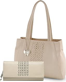 Butterflies Women's Super Saver Handbag Combo BNS WB0271 (Cream)