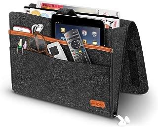 Simboom Felt Bedside Storage Bag with Pockets, Convinient Bed Sofa Desk Hanging Organizer for Phone, Magazines, Tablet, Remotes - Dark Grey