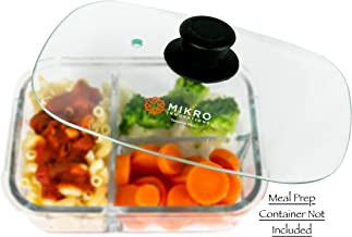 Glass Meal Prep Container Microwave Food Cover – Rectangular Tempered Glass Lid with Vent hole – Healthy and Naturally BPA Free - Microwave and Dishwasher Safe – Easy Grip Silicone Knob - Black
