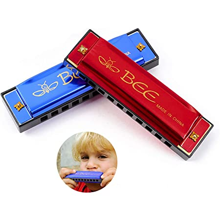 Harmonica Enfant, Harmonica, Harmonica Trémolo, 2 Pièces Harmonica 10 Trous Harpe Diatonique 20 Tons pour Débutants, Enfants, Adultes, Comme Meilleur Cadeau (Bleu, Rouge)