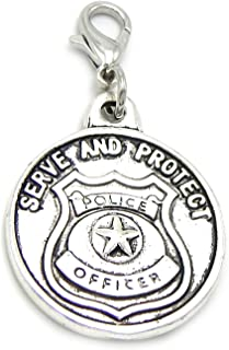 GemStorm Silver Plated Dangling Lobster Clasp Serve and Protect Police Badge Pendant Clip on Chain Bracelets