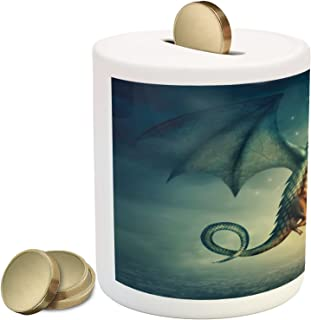 Lunarable Fantasy Piggy Bank, Dragon in The Sky with Flame Fairytale Creature Surreal Design, Ceramic Coin Bank Money Box for Cash Saving, 3.6