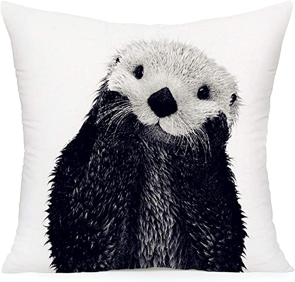 YANGYULU Super Soft Throw Pillow Covers Animals Theme Pillow Case Decorative Cushion Square Cover For Sofa Bedding Colorful Oil Painting Black And White Otter 18 X18 Inch Black And White Otter